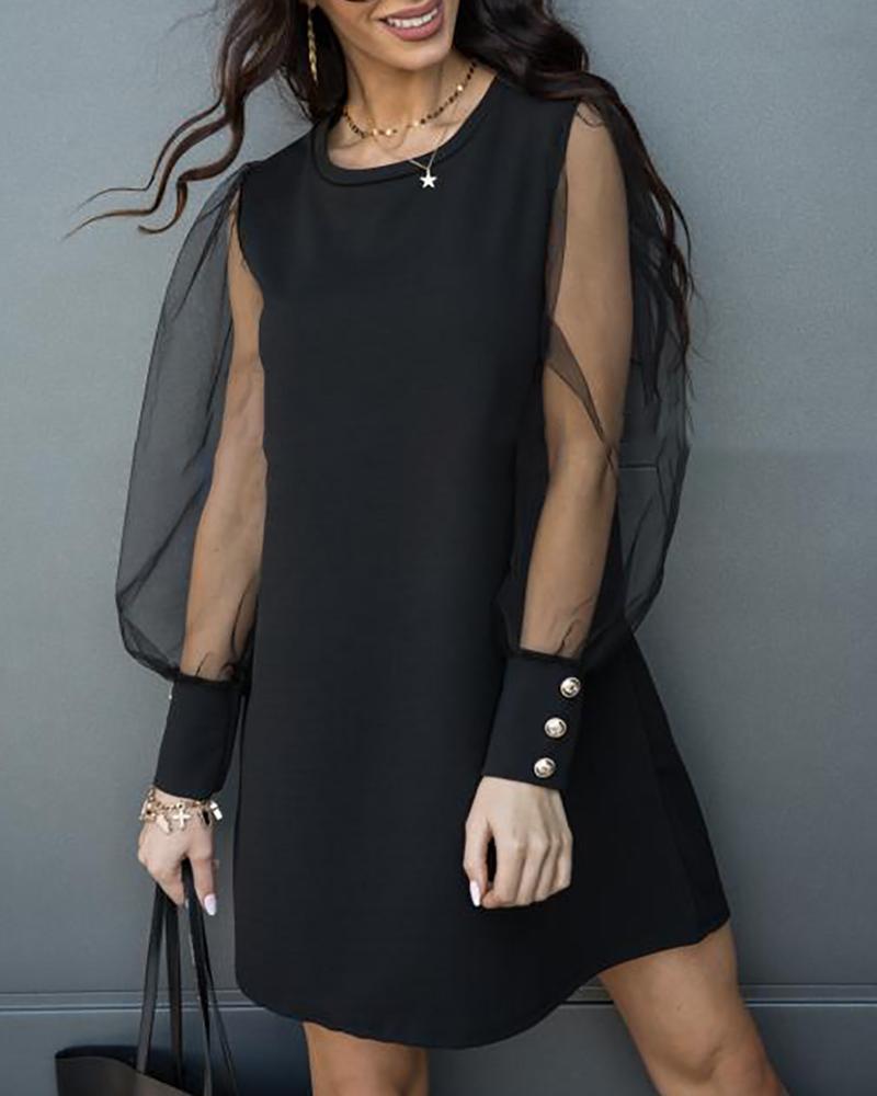 ivrose / Puffed Sleeve Buttoned Mesh Casual Dress