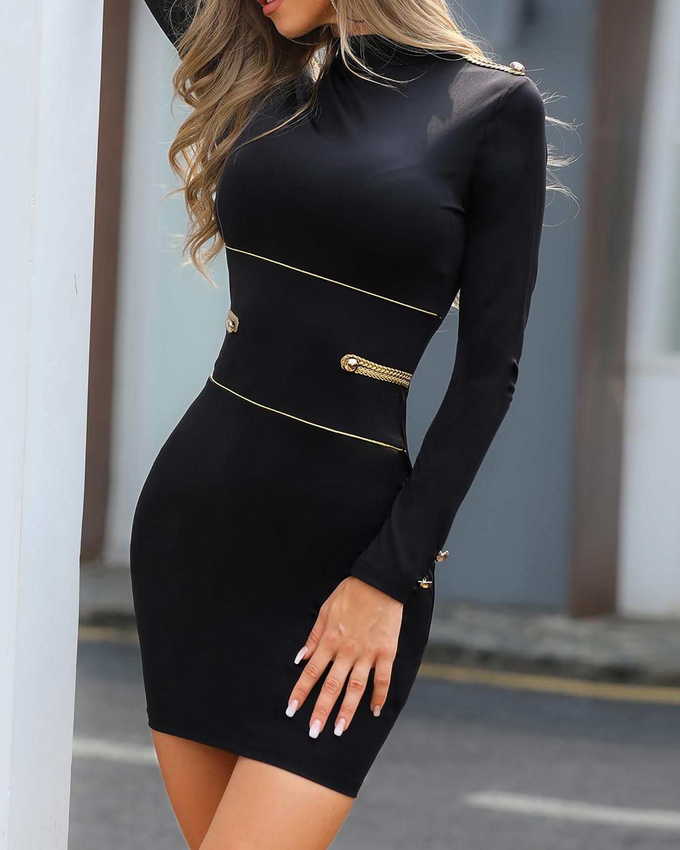 Button Design Long Sleeve Bodycon Dress, Black