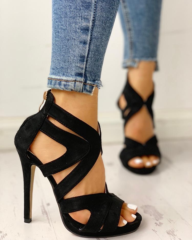 Hollow Out Thin Heeled Sandals