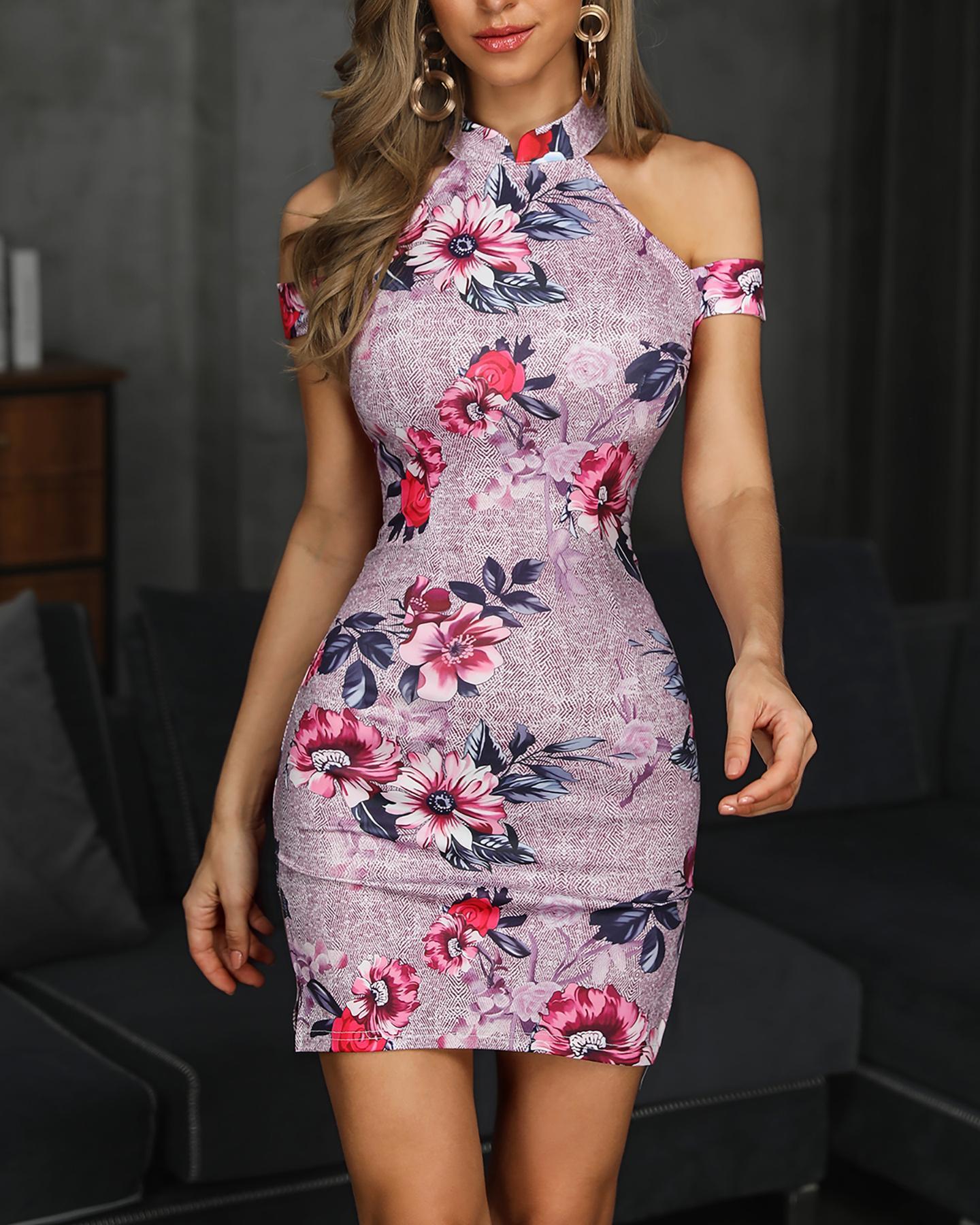 Floral Print Cold Shoulder Bodycon Dress, Multicolor