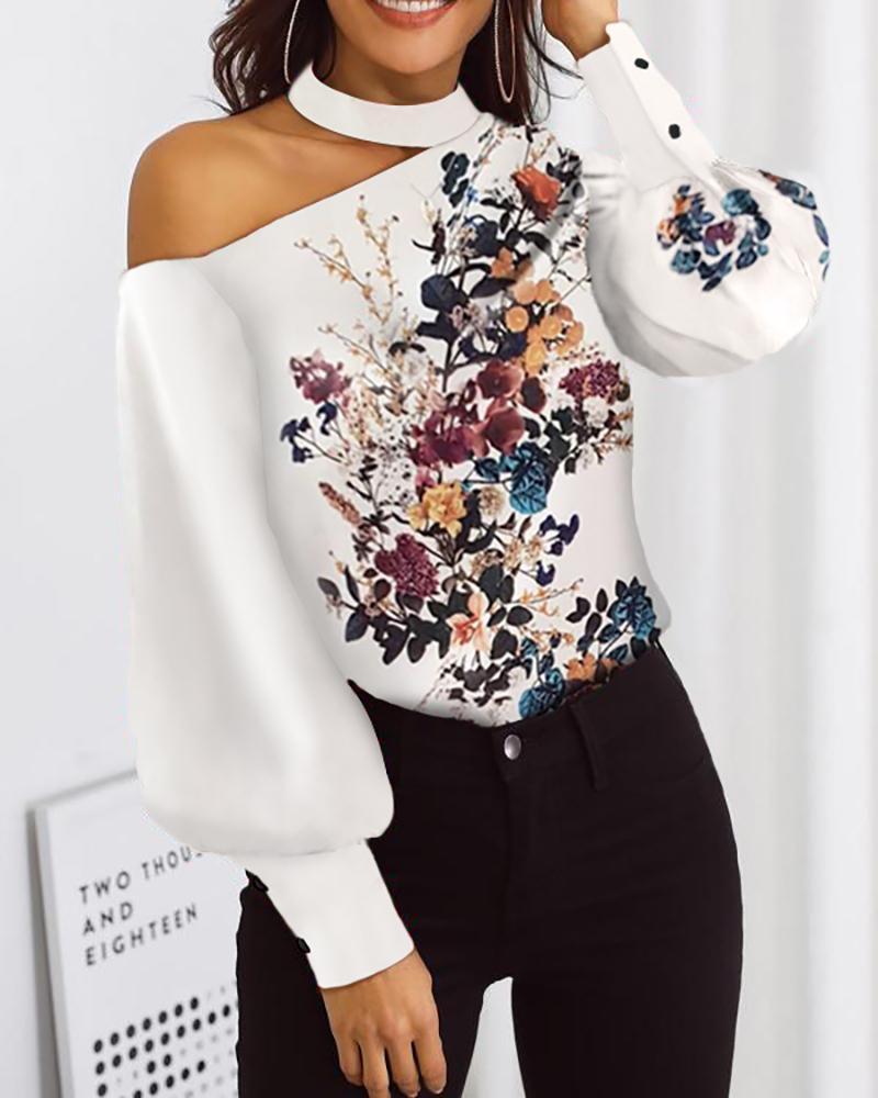 ivrose / Blusa sin mangas con estampado floral y linterna estampada