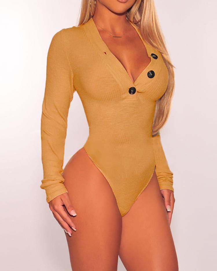 Button Detail Long Sleeve Bodysuit
