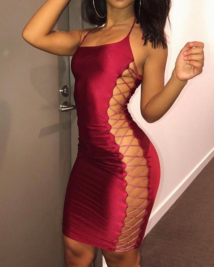 ivrose / Sexy Side Lace-up Bodycon mini vestido