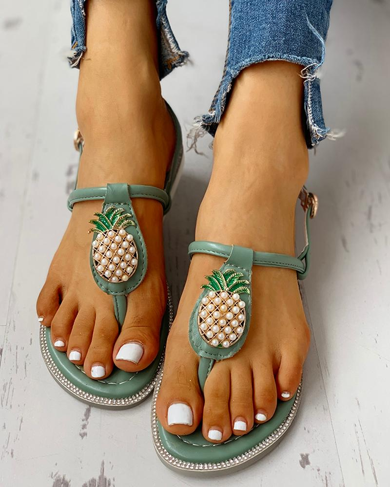 Pineapple Embellished Toe Post Flat Sandals фото