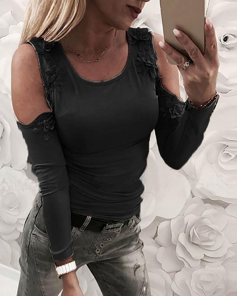 Cold Shoulder Lace Applique T-Shirt фото
