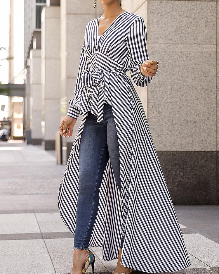 V-Neck Striped Tie Waist Dip Hem Irregular Blouse