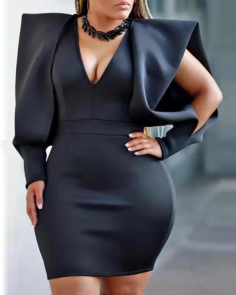 Solid Plunge Slit Sleeve Bodycon Dress фото