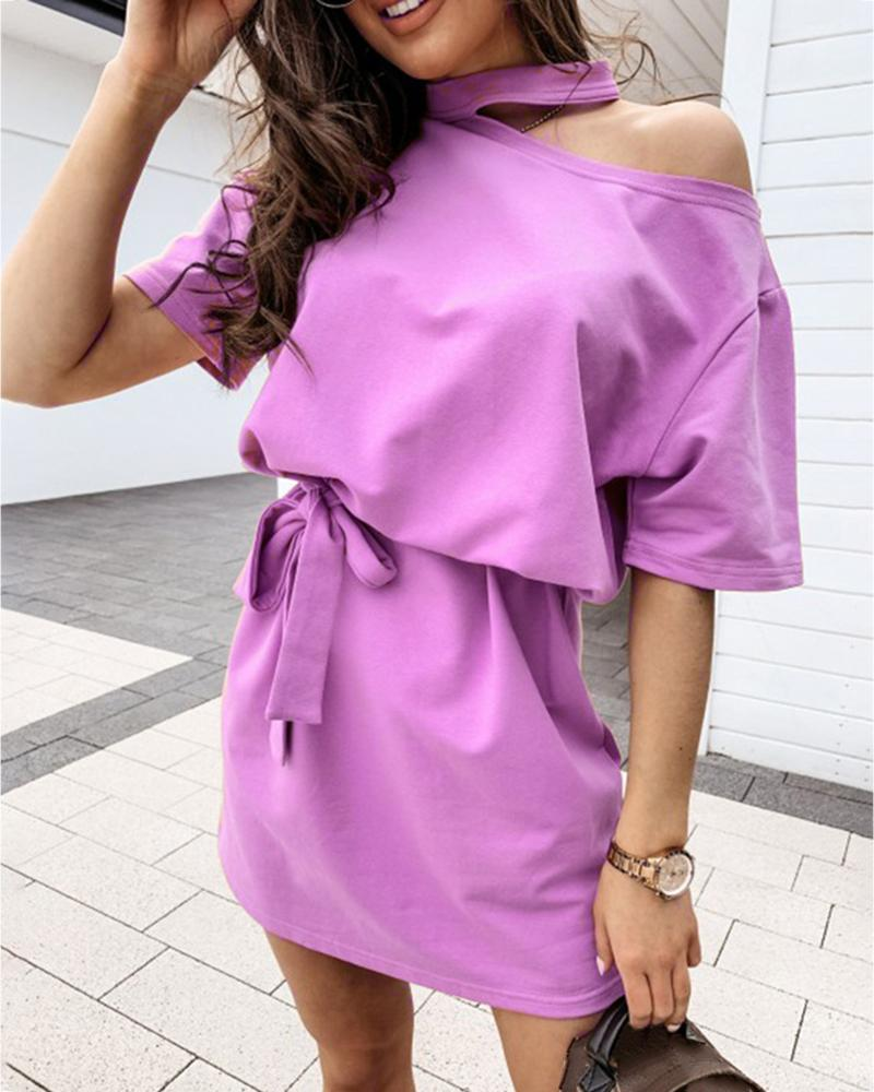 Cold Shoulder Half Sleeve Casual Dress фото