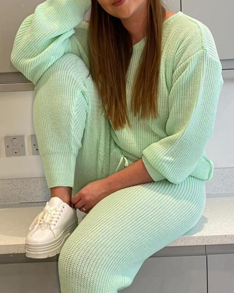 Solid Knit Top & Drawstring Pants Sets фото