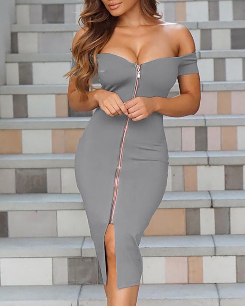 Sexy Women Off Shoulder Zipper Front Midi Dress фото