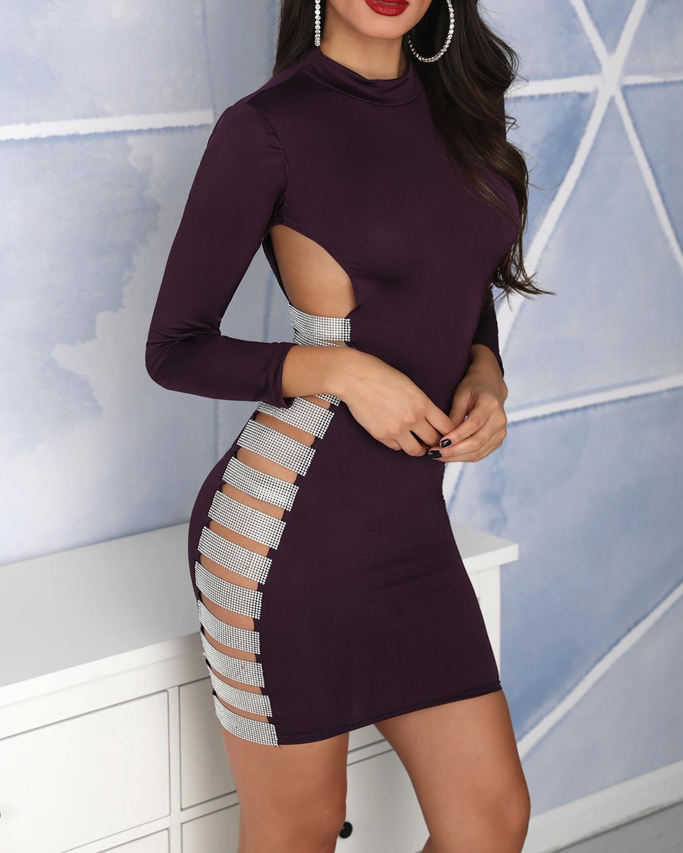 Sequin Ladder Cut Out Bodycon Dress фото