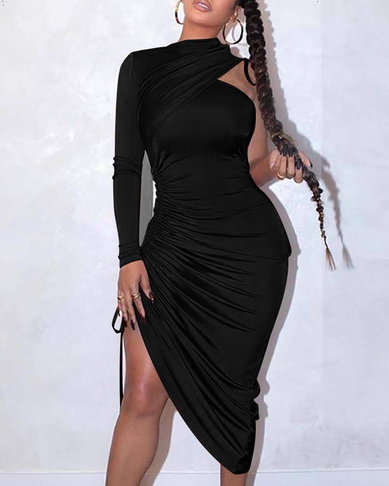 One Shoulder Drawstring Ruched Dress фото