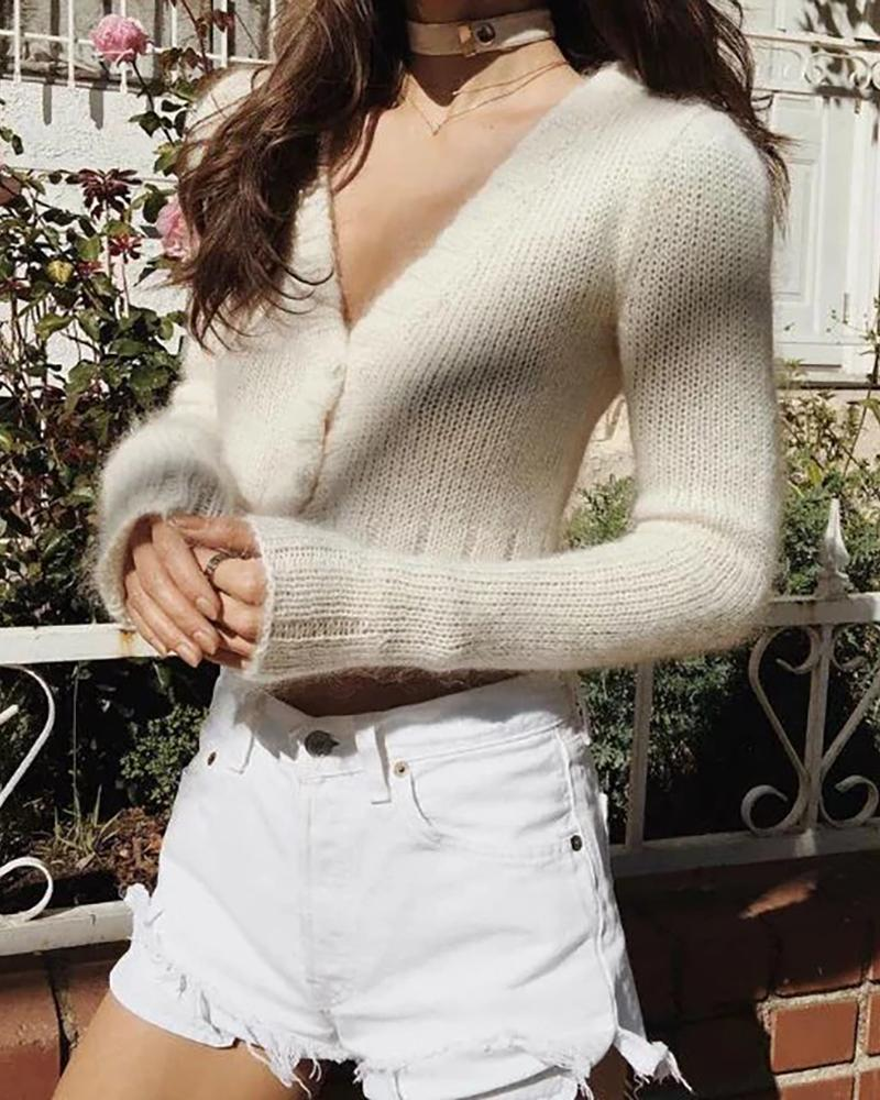 Solid Long Sleeve Cropped Sweater фото