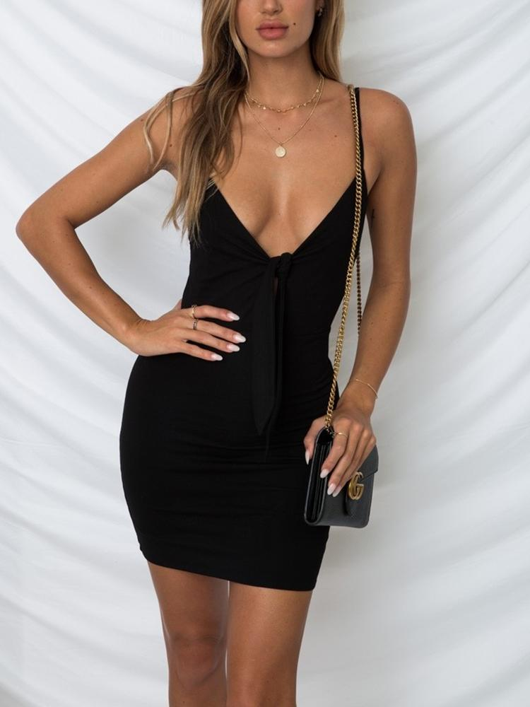 Spaghetti Strap Knotted Bodycon Party Dress фото
