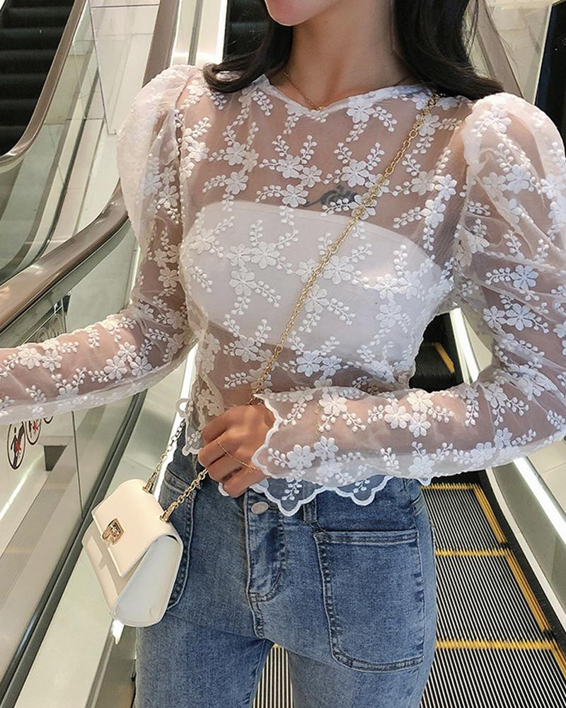 Perspective Lace Puff Sleeve Blouse фото