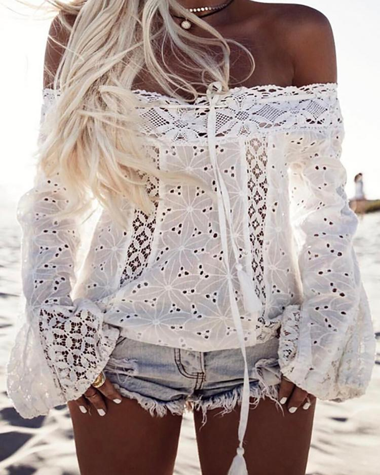 Купить со скидкой Stylish White Lace Patchwork Off Shoulder Casual Blouse