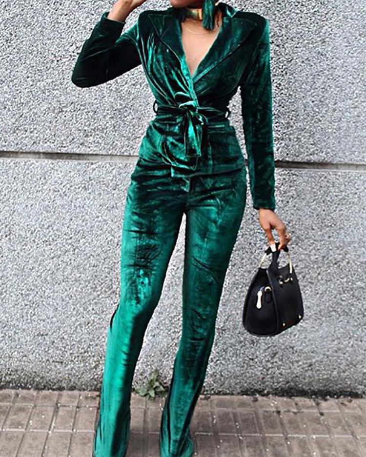 ivrose / Velvet Wrapped Tied Waist Suit Sets