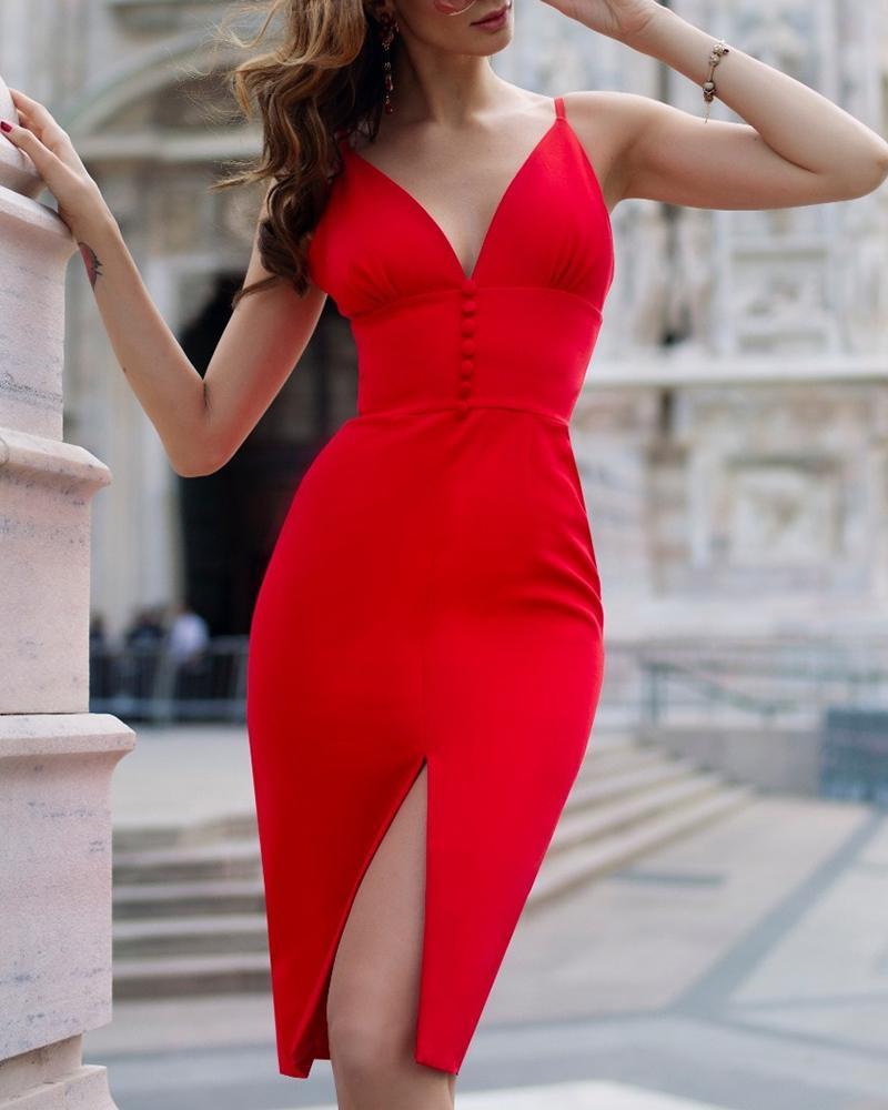 Thin Strap Slit Tight Waist Bodycon Dress, Red