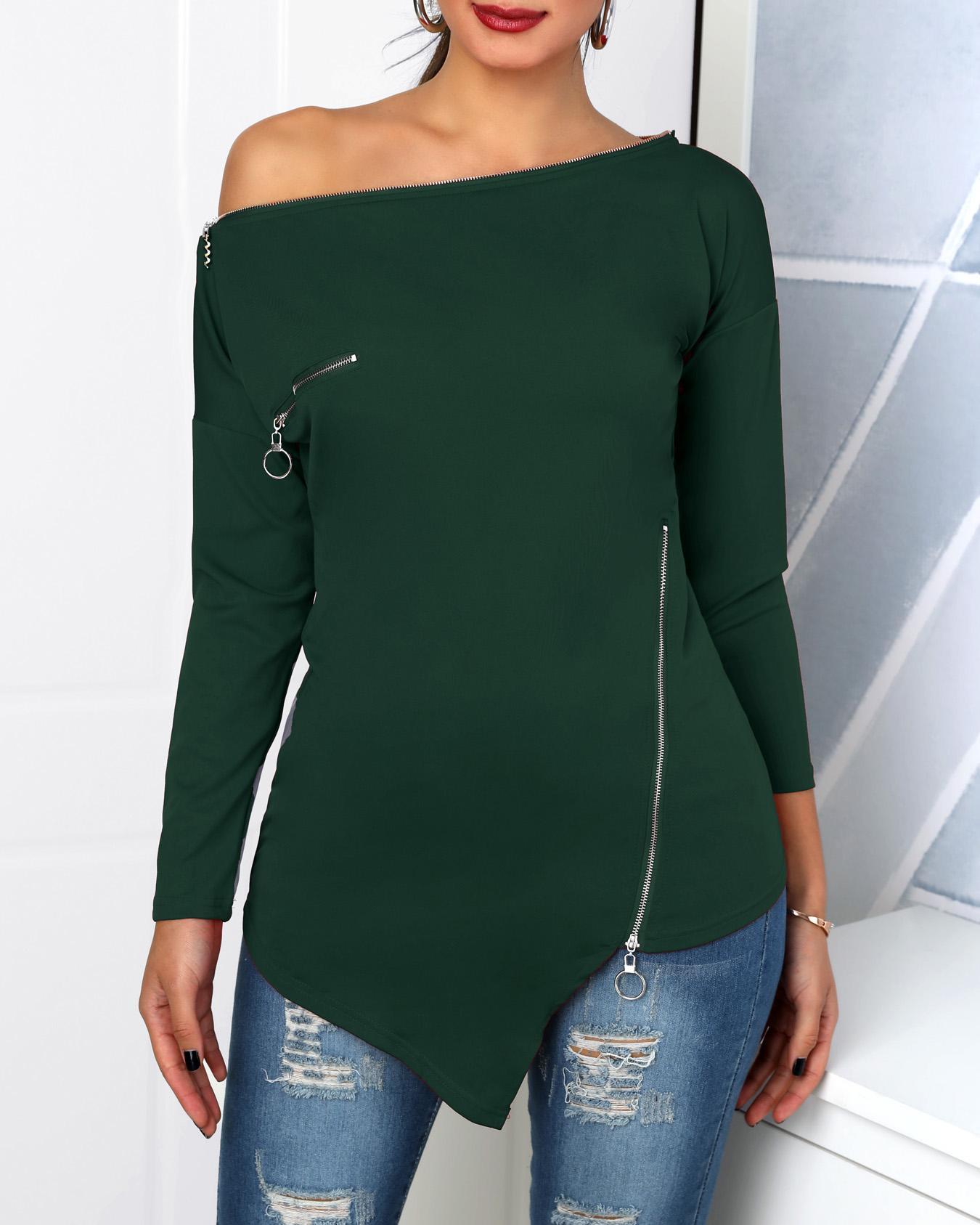 Zipper Design Skew Neck Irregular T-Shirt