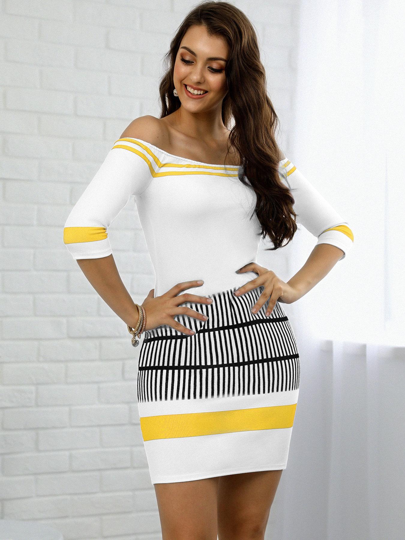 Contrast Striped Half Sleeve Bardot Bodycon Dress фото