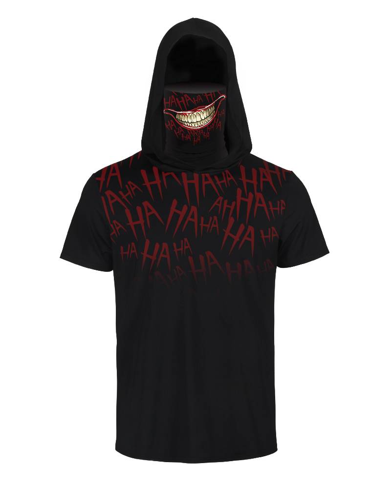 Skull Letter Print Hooded Short Sleeve T-shirt With Ear Loop Face Bandana фото