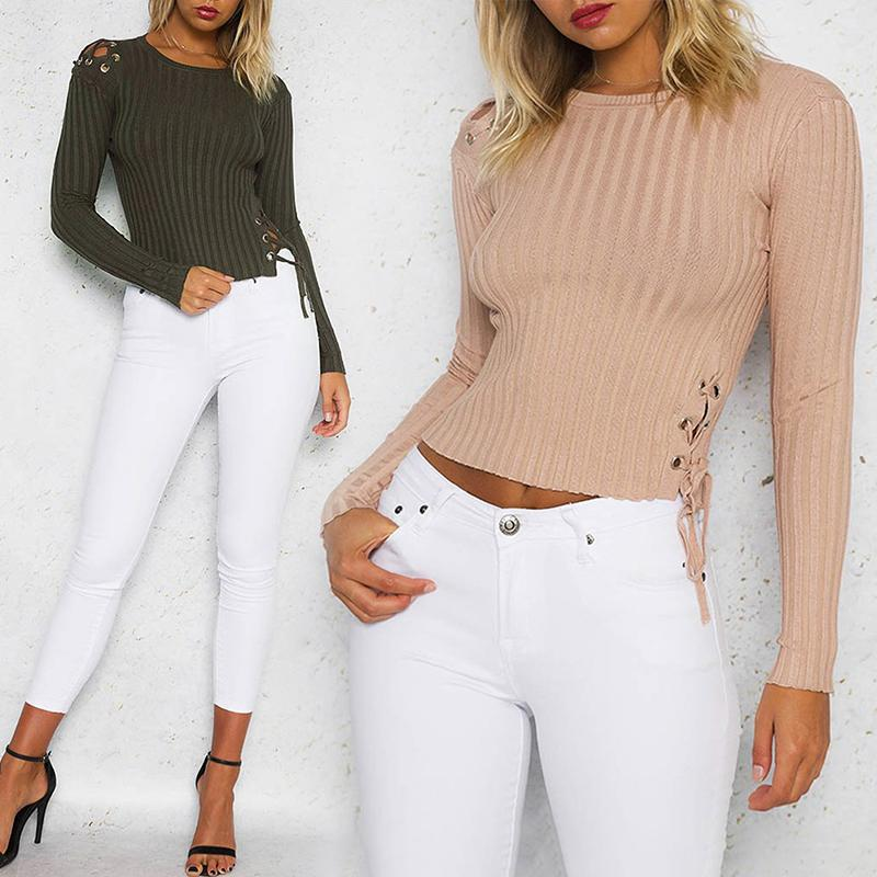 Side Lace-up Rib Cropped Blouse