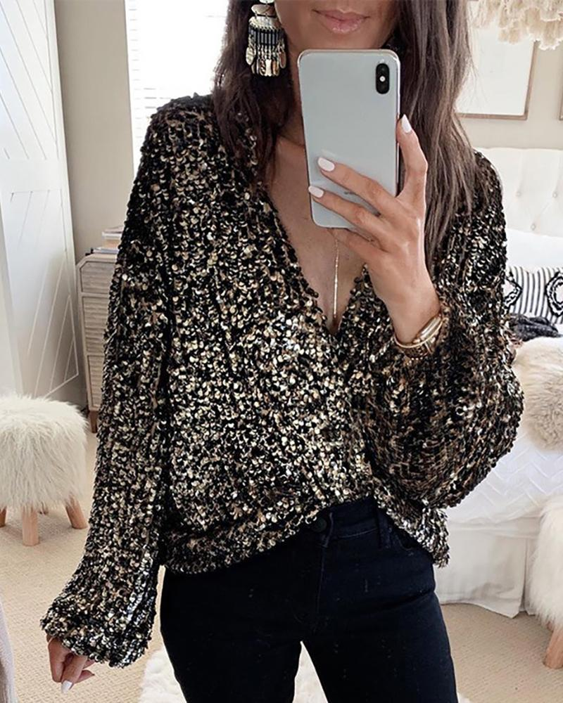 Glitter Plunge Long Sleeve Sequins Blouse