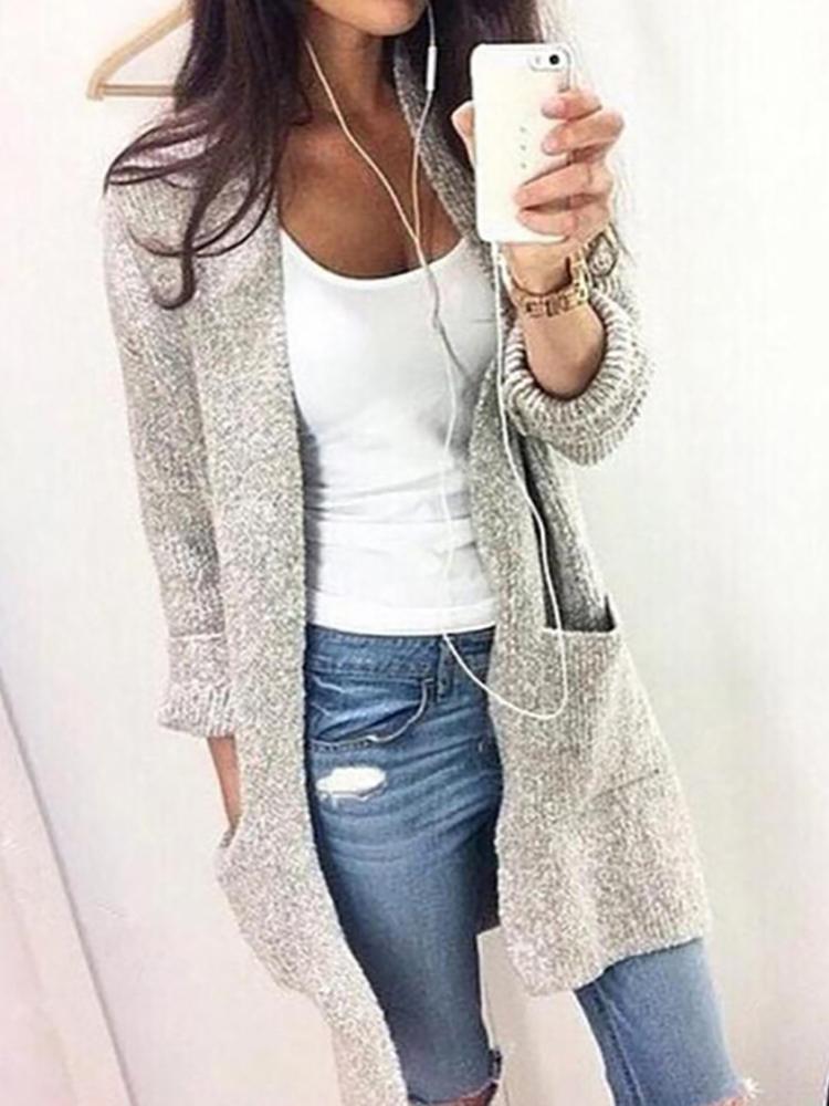 Fashion Solid Pocket Design Longline Sweater Cardigan