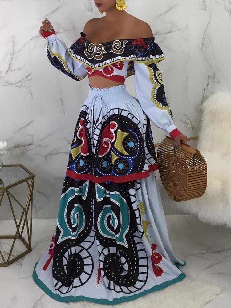 Mixed Print Off Shoulder Top & Shirring Skirt Sets
