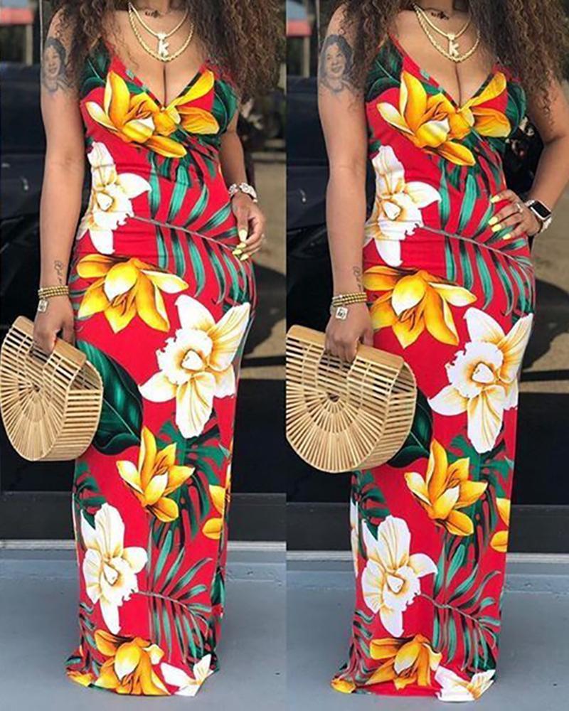 ivrose / Floral Print Sling Maxi Dress