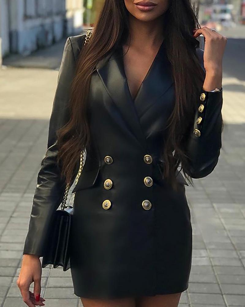 chicme / Sólido PU Double Breasted Blazer Dress