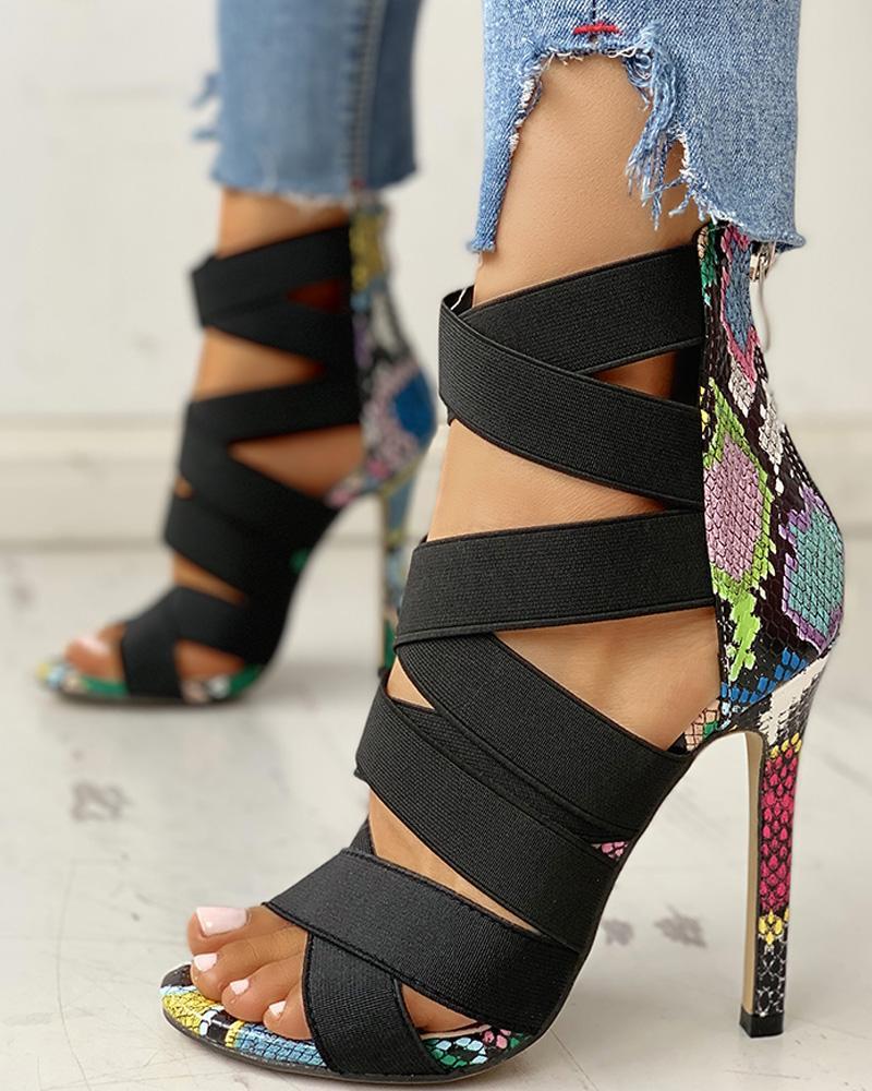 Lace-Up Bandage Patchwork Snakeskin Thin Heeled Sandals фото