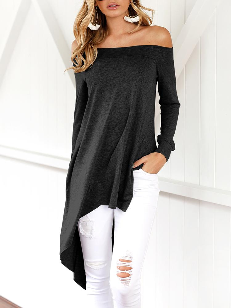 Asymmetric Trim Off Shoulder Casual Blouse - Black