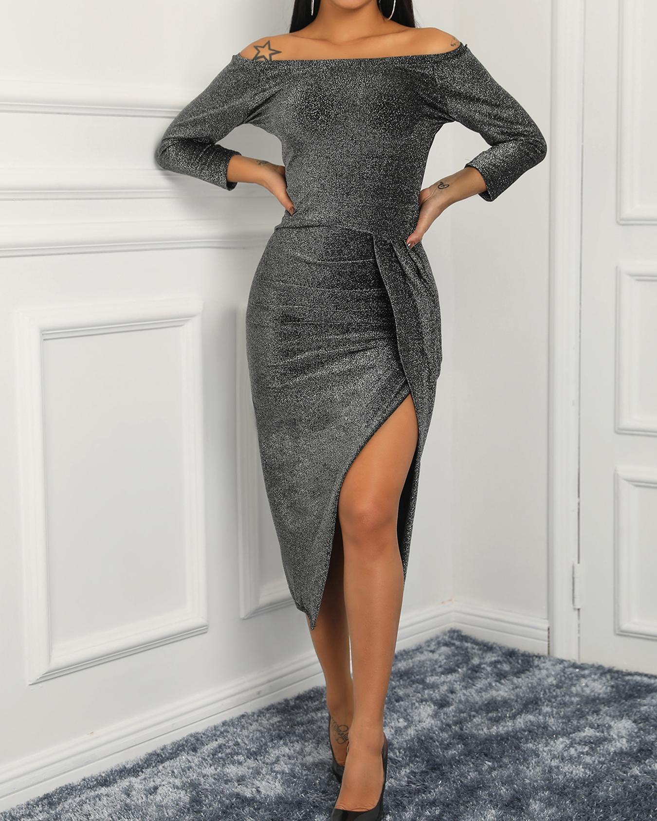 Shiny Off Shoulder Ruched Thigh Slit Party Dress