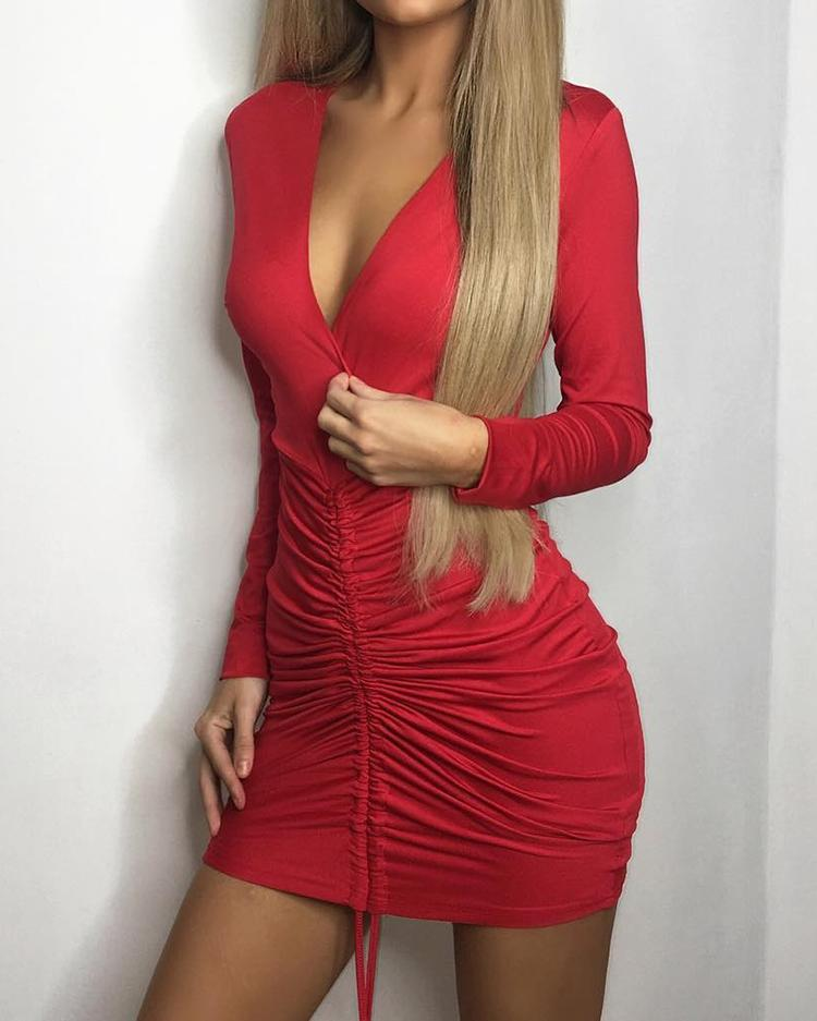 Skinny Front Pleated Deep V Neck Mini Dress