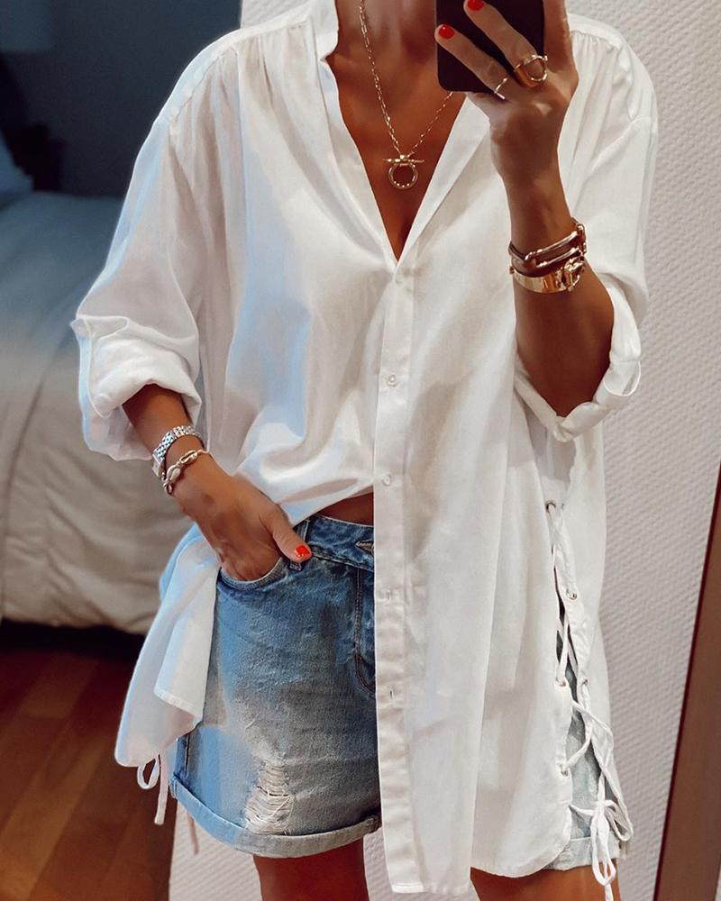 Solid Long Sleeve Lace-up Hem Blouse фото