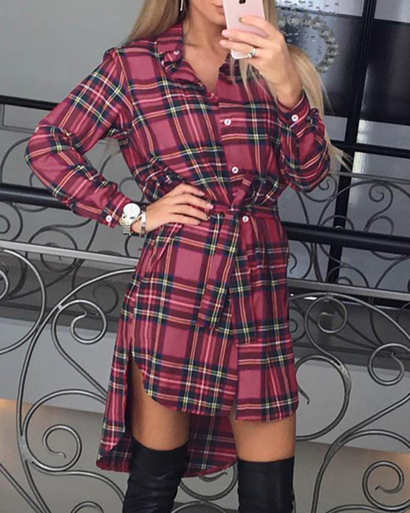 boutiquefeel / Vestido camisero con botones y cintura larga