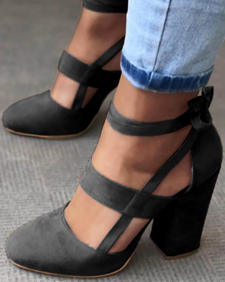 joyshoetique / Fashion Caged Chunky Heels Shoes