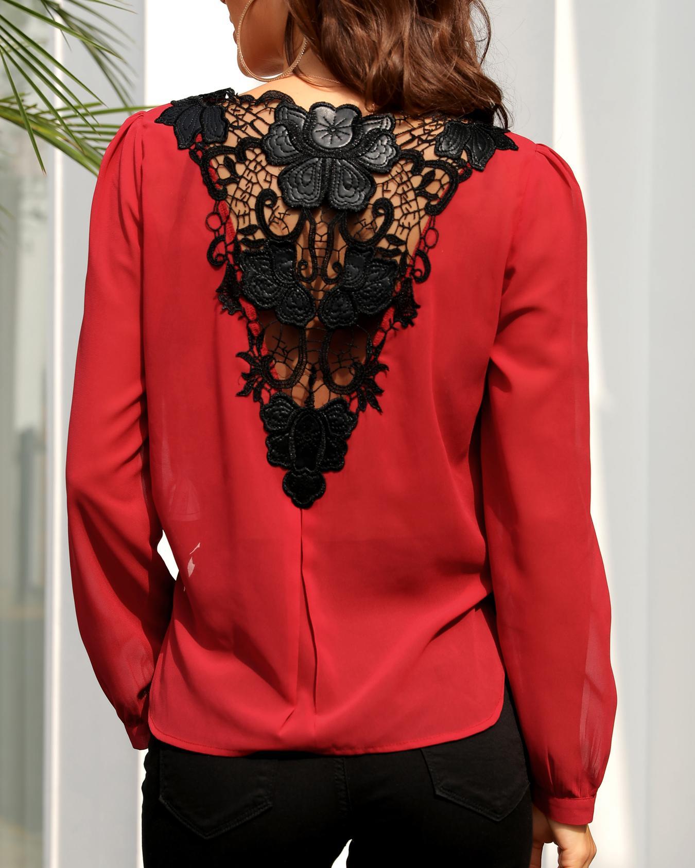 Lace Crochet Back Surplice Front Blouse