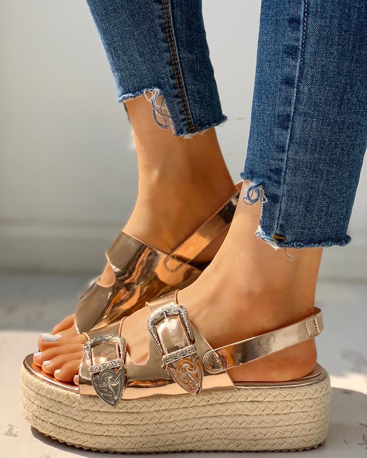 Buckled Detail Espadrille Platform Sandals, Gold