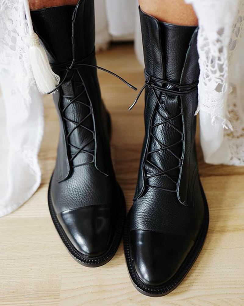 Faux Leather Lace-Up Boots фото