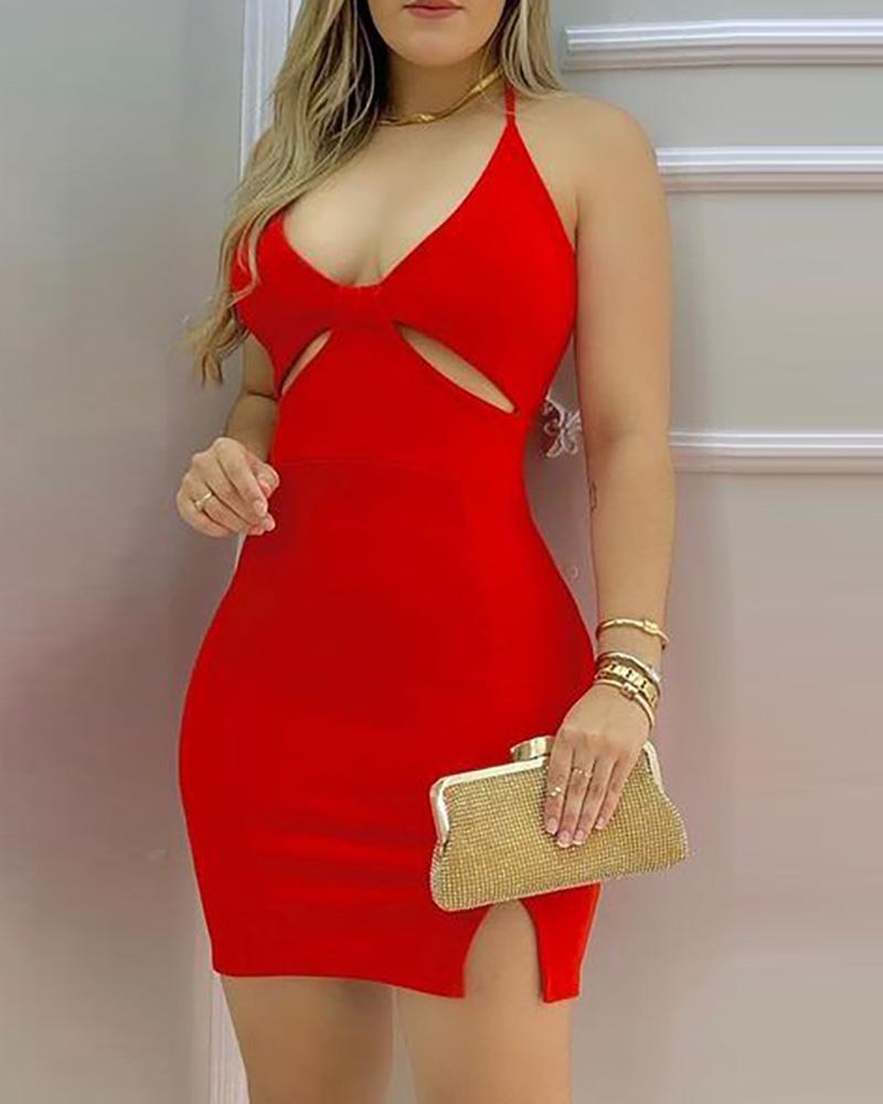 ivrose / Plain Cutout Slit Spaghetti Strap Bodycon Dress