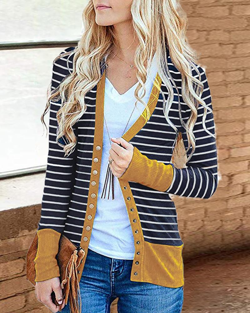 Contrast Binding Striped Buttoned Cardigan, Yellow