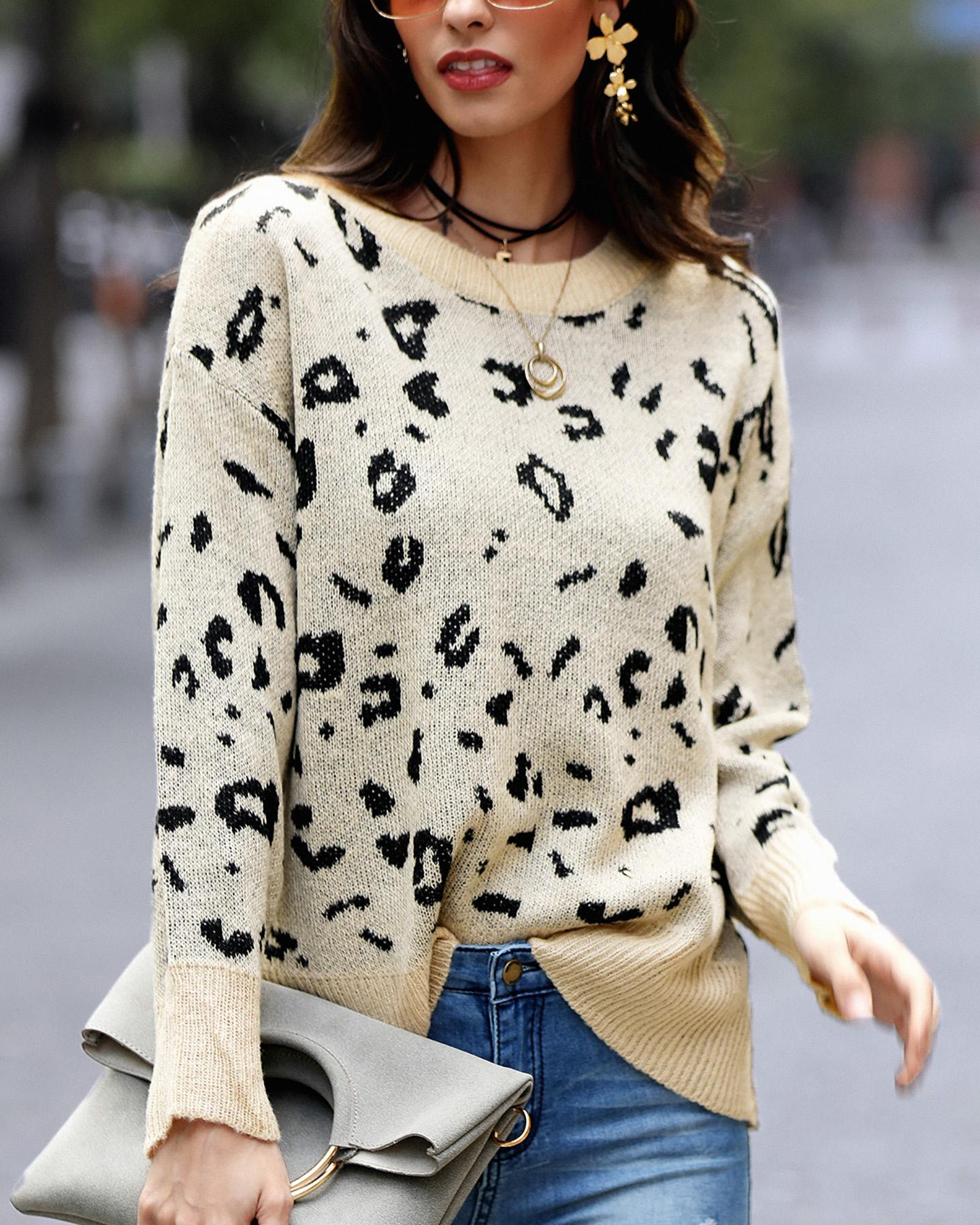 Round Neck Leopard Print Casual Sweater фото