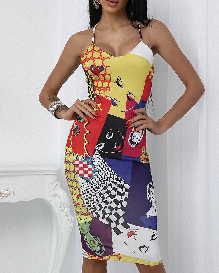Sexy Print Backless Crisscross Bodycon Slip Dress фото