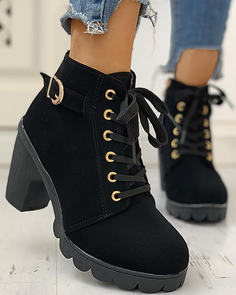 ivrose / Suede Eyelet Lace-Up Buckled Chunky Heeled Ankle-Boots