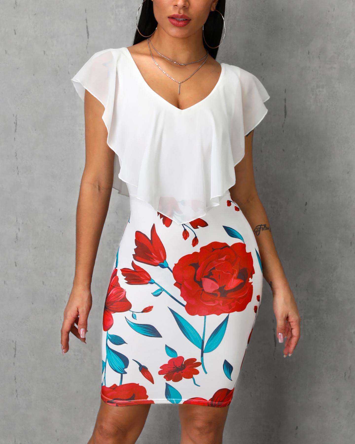 Floral Print Ruffles Design Bodycon Dress фото