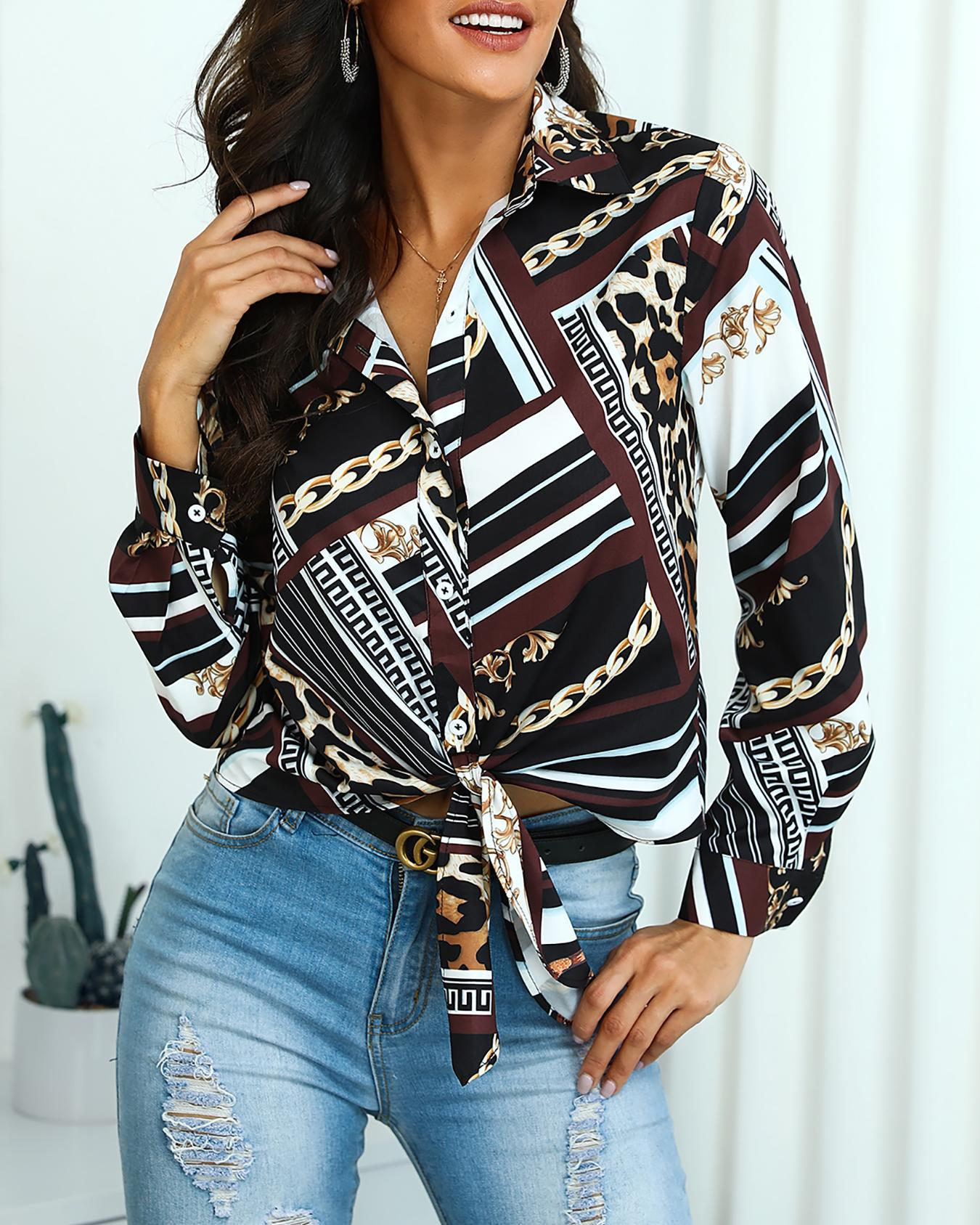 Mixed Chain Print Knot Front Blouse фото