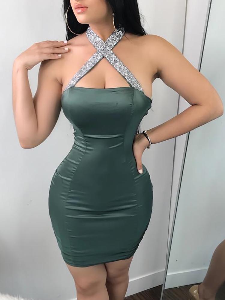 ivrose / Alluring Sequined Halter Bodycon Mini Dress