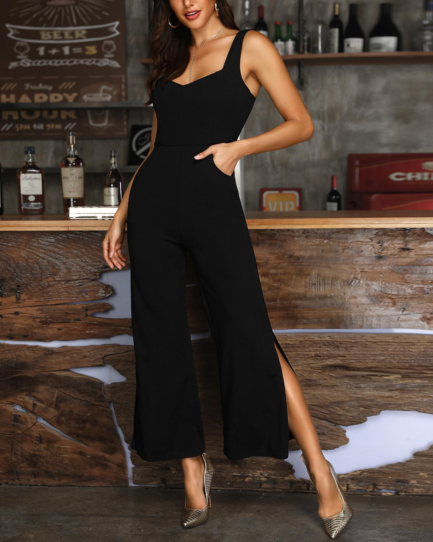 Thin Strap Slit Leg Pocket Detail Jumpsuit